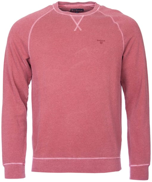 Men's Barbour Garment Dyed Crew Neck Sweater - Biking Red