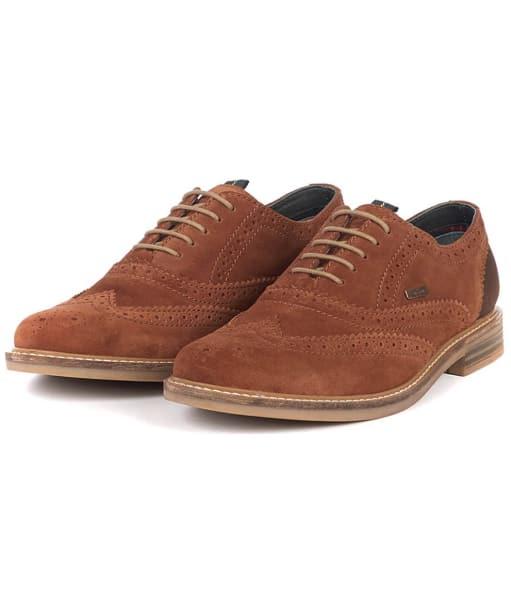 Men's Barbour Redcar Oxford Brogues - Rust Suede