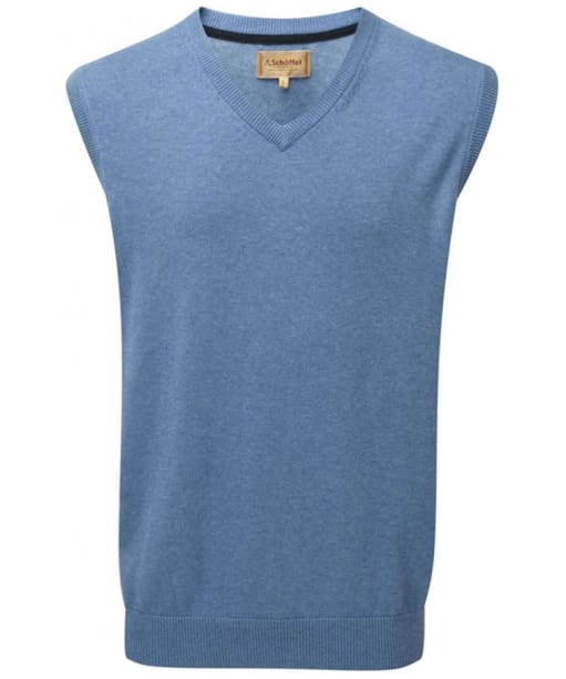 Men's Schoffel Cotton Cashmere Sleeveless V-Neck Sweater - Denim Blue