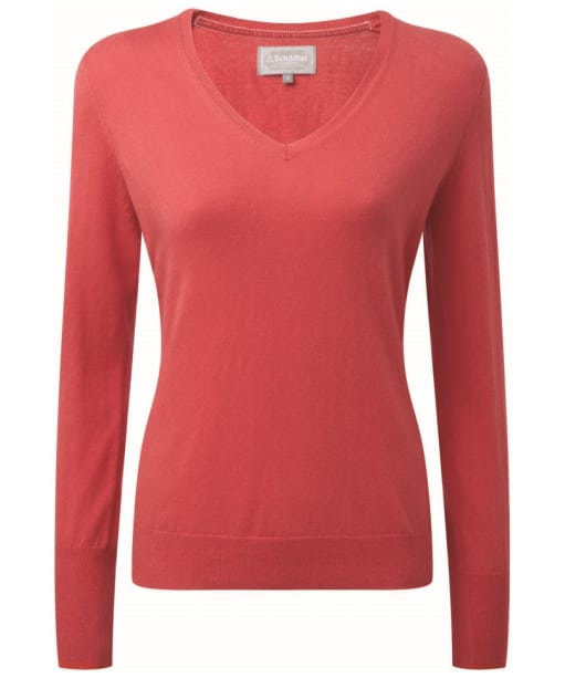Women's Schoffel Cotton Cashmere V-Neck Sweater - Coral