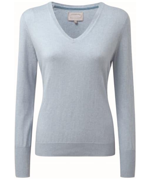 Women's Schoffel Cotton Cashmere V-Neck Sweater - Sky Blue