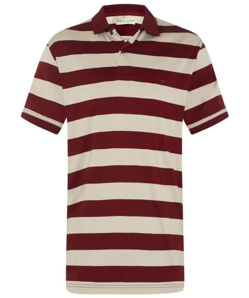 Men's R.M Williams Rod Stripe Polo Shirt - Red / Bone