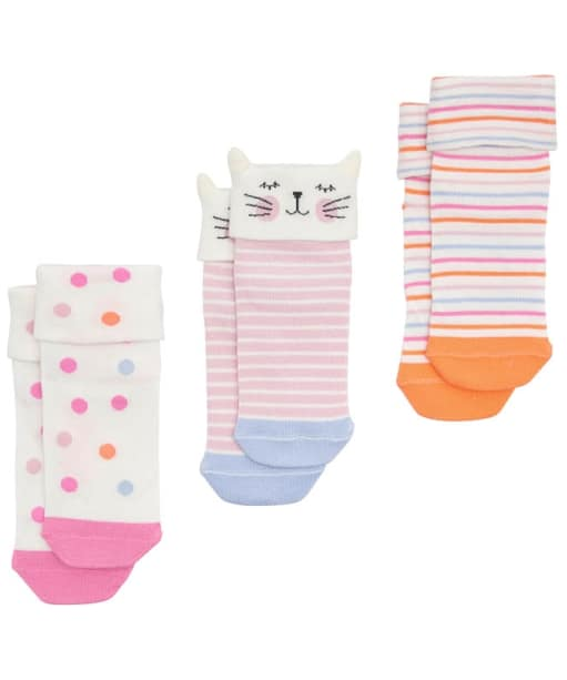 Girl's Joules Shorty Socks 3-Pack - Cat
