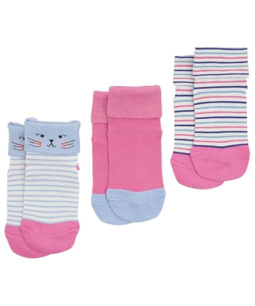 Girl's Joules Shorty Socks 3-Pack - Mouse