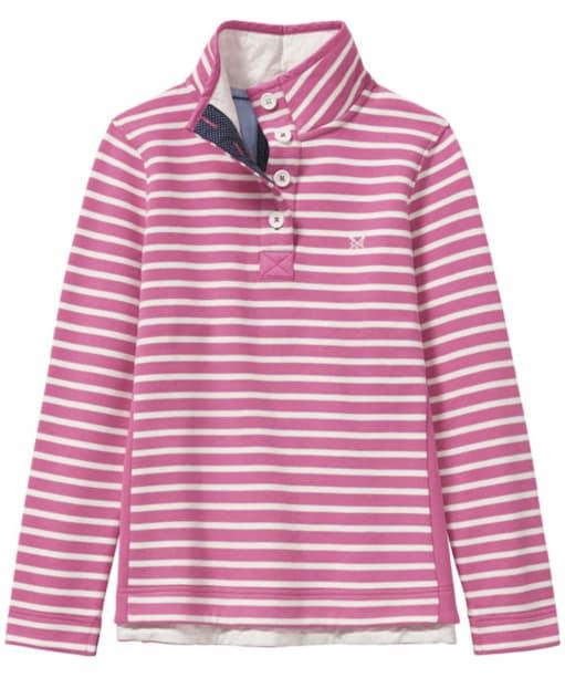 Women's Crew Clothing Half Button Sweatshirt - Fushcia / White Linen
