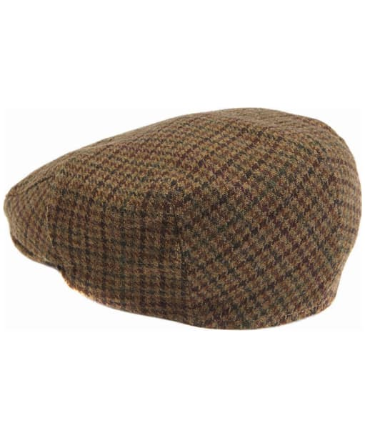 Men's Barbour Wool Crieff Flat Cap - Dark Brown Club Check
