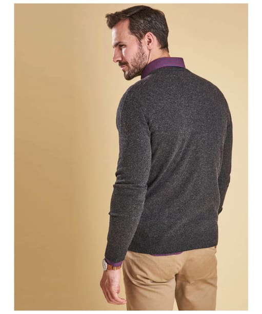 Men's Barbour Essential Lambswool V Neck Sweater - Charcoal