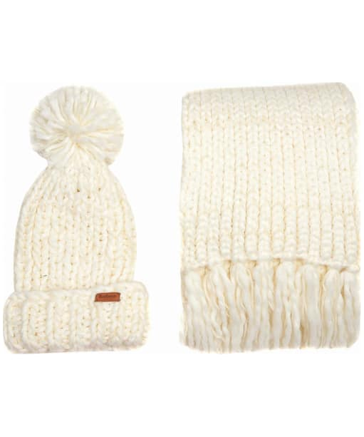 Women's Barbour Chunky Knit Hat and Scarf Set - Winter White