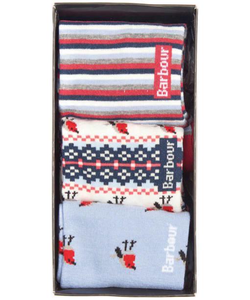 Women's Robin Christmas Sock Gift Box - Blue / Red