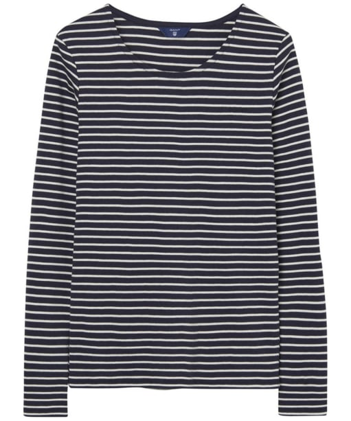 Women's GANT Striped Long Sleeve T-shirt - Evening Blue