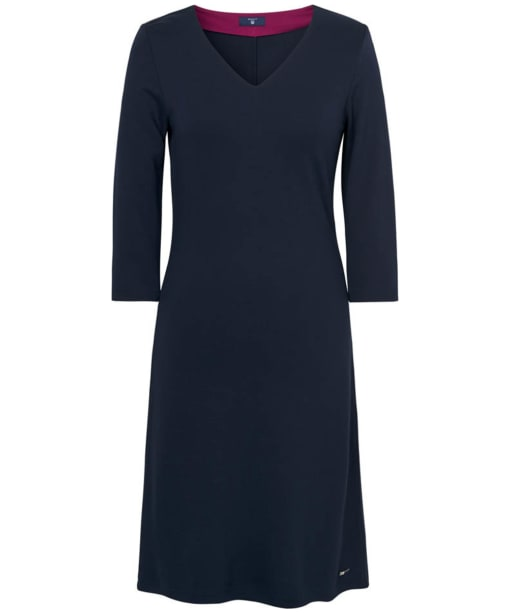 Women's GANT Jersey V-Neck Dress - Evening Blue