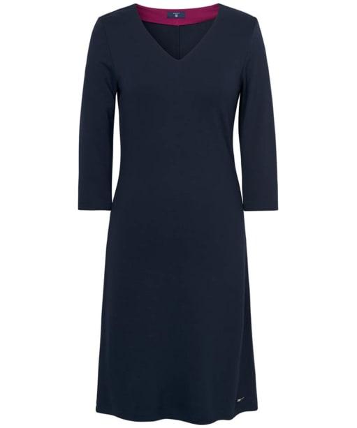 Women's GANT Jersey V-Neck Dress - Evening Blue