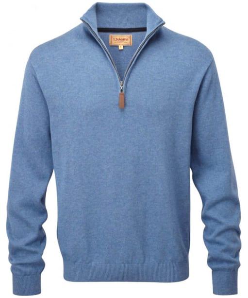 Men's Schoffel Cotton ¼ Zip Jumper - Denim Blue