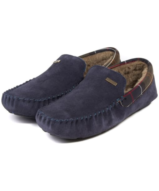 Men's Barbour Monty House Slippers - Navy Suede