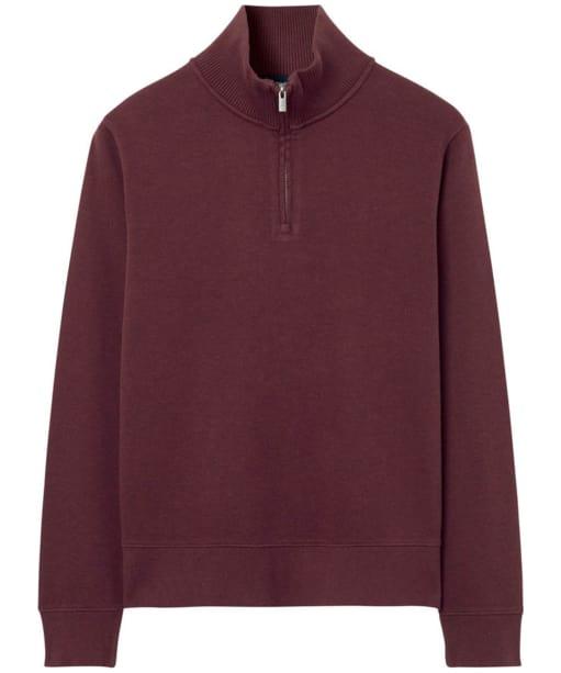 Men's GANT Sacker Half-Zip Sweatshirt - Dark Burgundy Melange