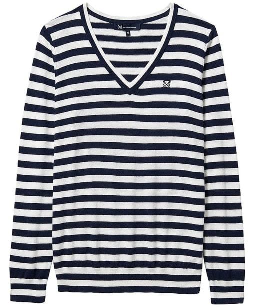Women's Crew Clothing Foxy V-Neck Sweater - Navy / White