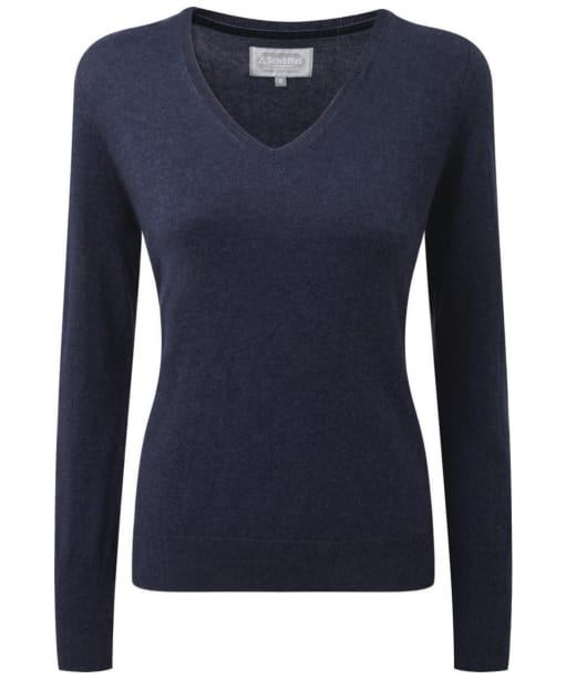 Women's Schoffel Cotton Cashmere V-Neck Sweater - Indigo