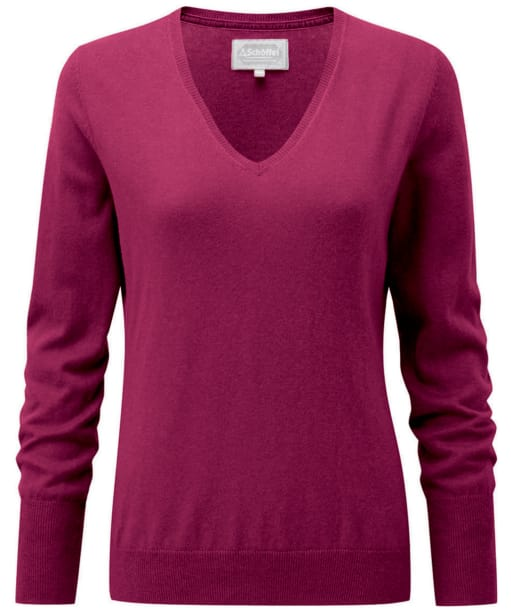 Women's Schoffel Cotton Cashmere V-Neck Sweater - Raspberry