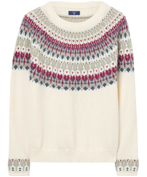 Women's GANT Cotton Wool Fairisle Crew Neck Sweater - Cream