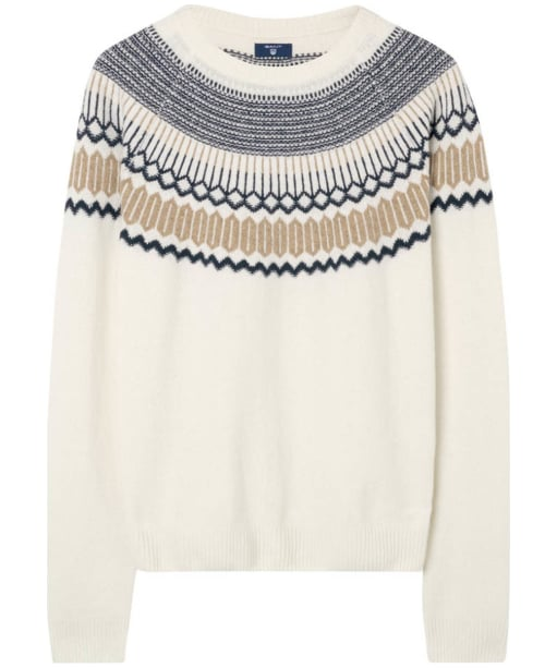 Men's GANT Fairisle Holiday Crew Neck Sweater - Cream