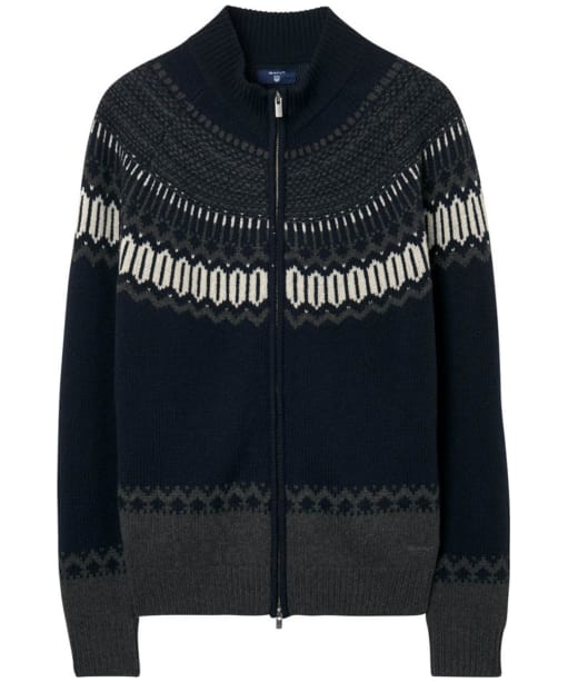 Men's GANT Fairisle Holiday Zip Jacket - Navy