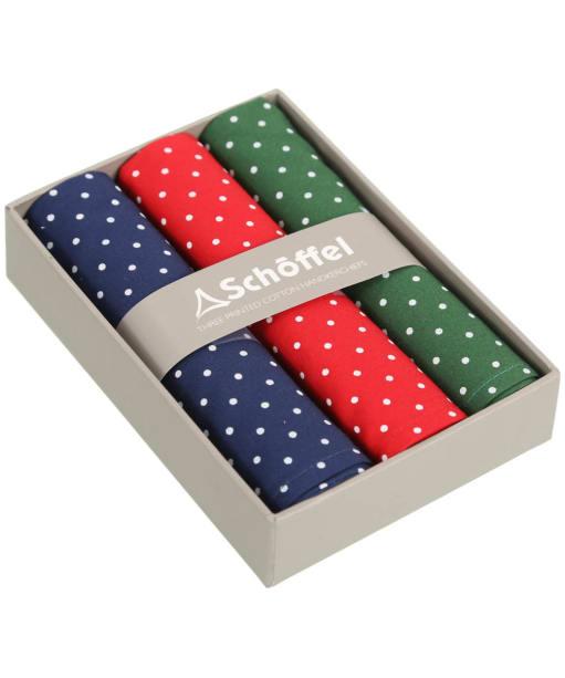 Men's Schöffel Handkerchiefs, pack of 3 - Navy / Red / Green