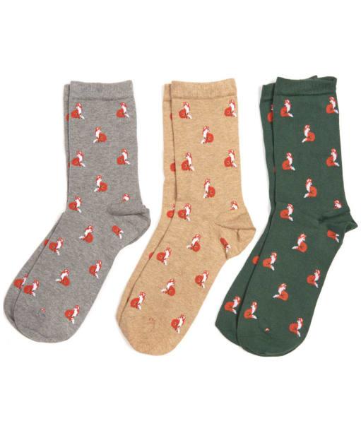 Women's Barbour Fox Motif Sock Gift Box Set - Grey / Green / Stone