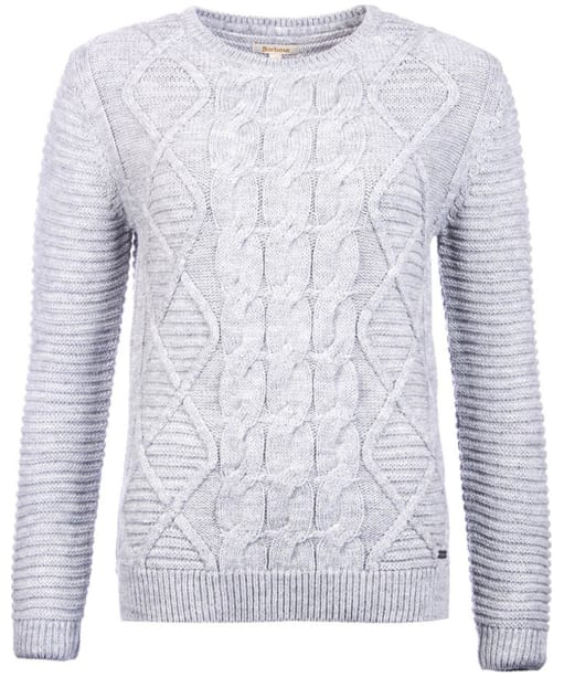 Women's Barbour Court Crew Sweater - Light Grey Marl
