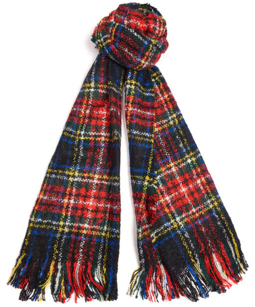Women's Barbour Plaid Boucle Scarf - Red / Blue / Gold
