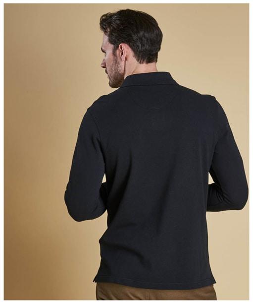 Men's Barbour Long Sleeved Sports Polo Shirt - Black