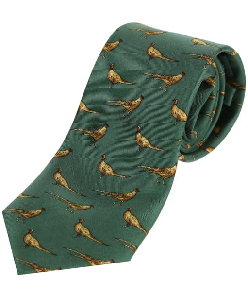 Men's Soprano Standing Pheasants Tie - Forest Green