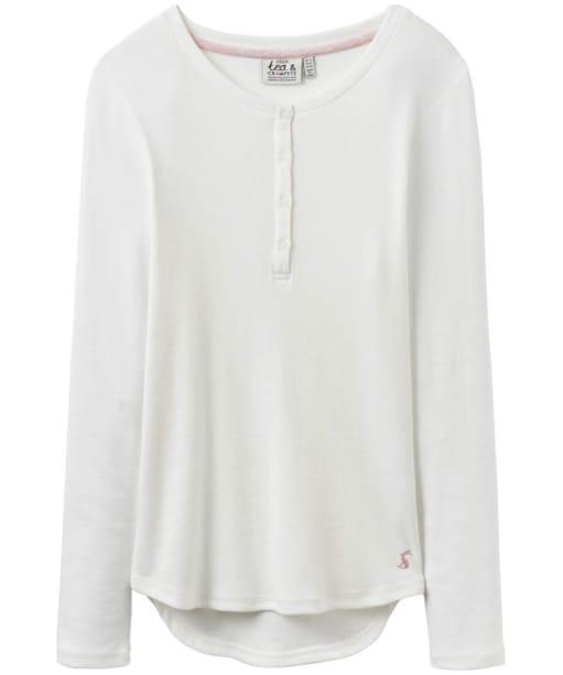 Women's Joules Dormi Ribbed Henley Pyjama Top - Cream