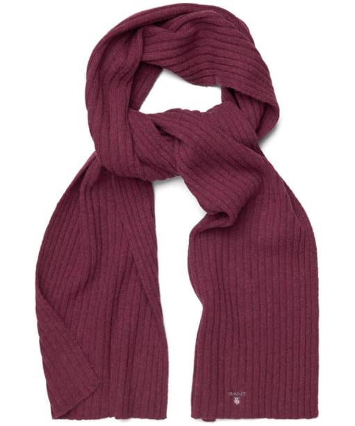 Men's GANT Cotton Wool Scarf - Purple Wine