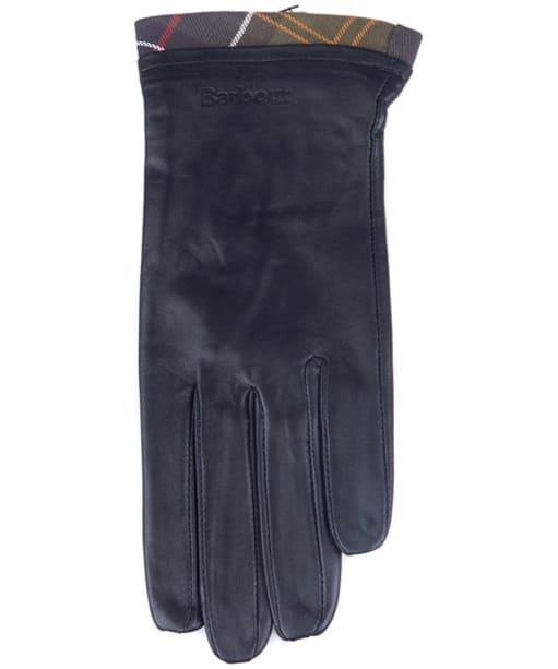 Women's Barbour Tartan Trimmed Leather Gloves - Black