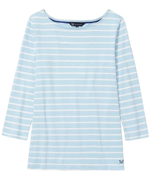 Women's Crew Clothing Essential Breton Top - Cool Blue / White Linen