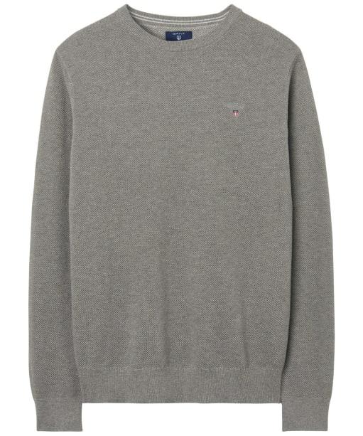 Men's GANT Piqué Crewneck Sweater - Grey Melange