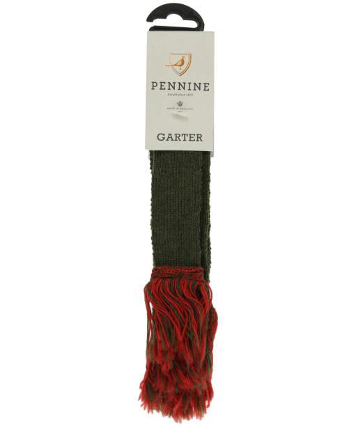 Pennine Contrast Garter - Olive / Ruby