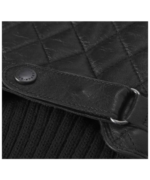 Men's Barbour Quilted Leather Gloves - Black