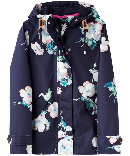 Women's Joules Coast Print Waterproof Jacket - Navy Poppy