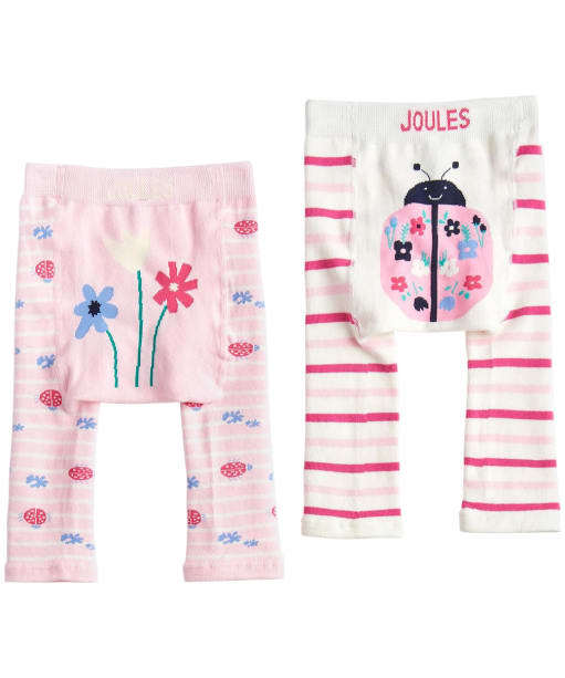 Girls Joules Baby Lively Legging Twin Pack, 0-12m - Bright White Lady Bird