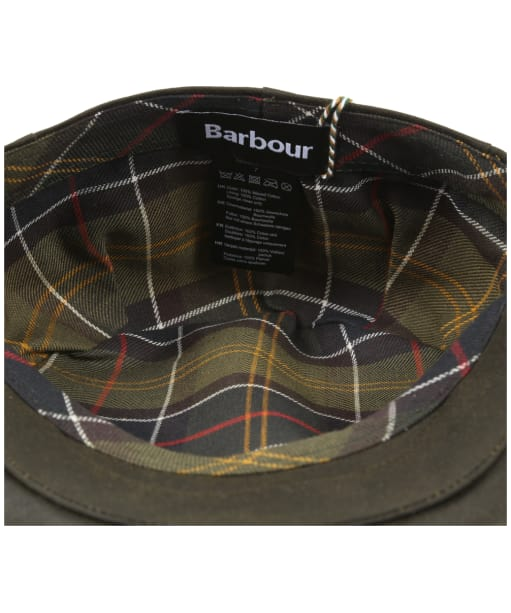 Men's Barbour Waxed Flat Cap - Sylkoil - Barbour Tartan Lining