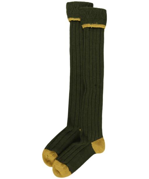 Men's Barbour Contrast Gun Merino Wool Stockings - Olive / Gold