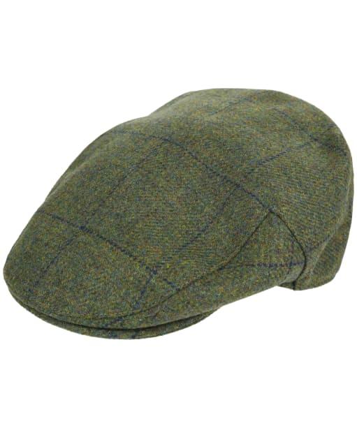 Men's Barbour Wool Crieff Flat Cap - Sage / Green / Blue Check