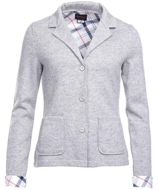 Women's Barbour Leathen Knit Jacket - Light Grey Marl