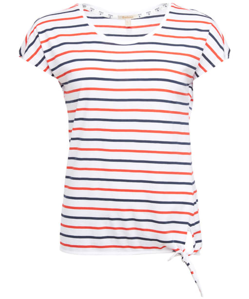 Women's Barbour Pembrey Top - White / Navy / Signal Orange
