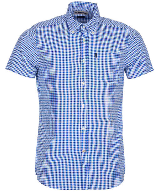Men's Barbour Newton Short Sleeved Tailored Fit Shirt - Blue