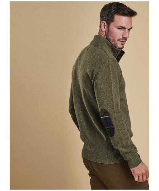 Men's Barbour Holden Half Zip Sweater - Olive Marl