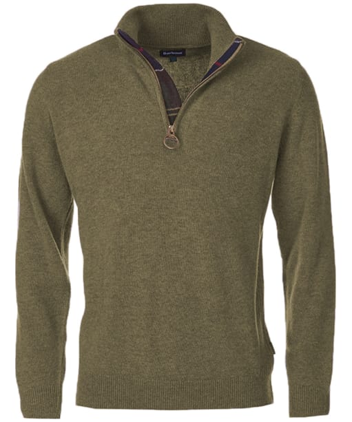 Men's Barbour Holden Half Zip Sweater - Olive Marl