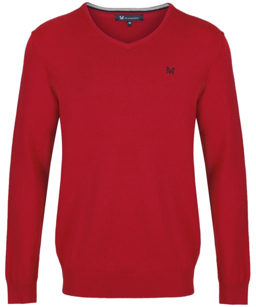 Men's Crew Clothing Foxley V-Neck Sweater - Classic Red