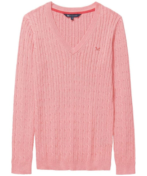 Women's Crew Clothing Heritage Cable Knit Sweater - Dawn Pink Marl